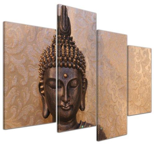 Bilderdepot24 Kunstdruck - Buddha - Bild auf Leinwand - 120x80 cm 4 teilig - Leinwandbilder - Bilder als Leinwanddruck - Wandbild Geist und Seele - Zen Buddhismus