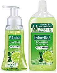 Palmolive Hydrating Foaming Hand Wash, Lime and Mint - 250ml Pump with Palmolive Hydrating Foaming Hand Wash,