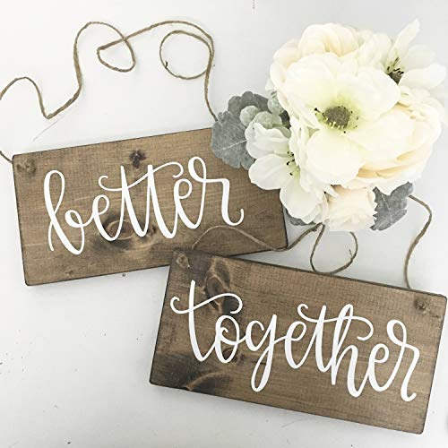 Yilooom Letreros de Madera Better Together | señales de Boda | Signos...