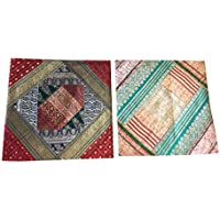 "Mogul Interior 2Pcs Ethnic Indian Vintage Silk Sari Patchwork Cushion Cover 16X16"" (Red)"