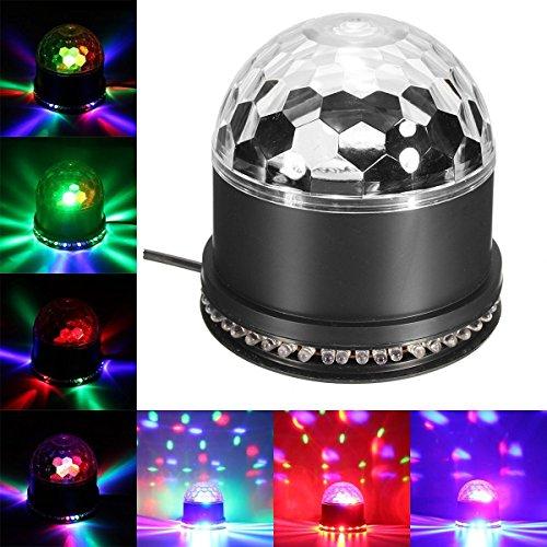 Besmall RGB LED Discokugel Licht Stadion-EffektLichtprojektor Bühnenbeleuchtung für Ferien DJs Disco Ballsaal WeihnachtenHochzeiten Stadion Club Kristall Magic Ball Partylicht