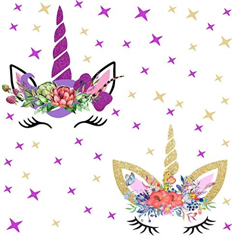 Sayala 2Pcs Unicorni Pegatinas De Pared,Unicornio Dormitorio Niña Estrella del bebé Adhesivo de Pared niños Decor (Estrella)