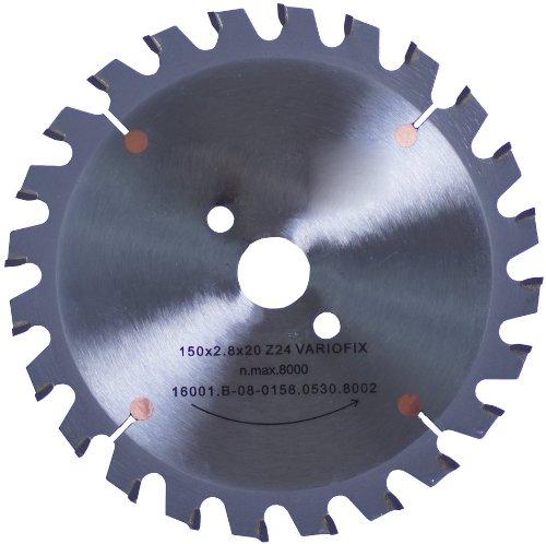 Connex COM361503 Hand-/Tischkreissägeblatt, hartmetallbestückt, Varioline-Präzisionsausführung, 150 x 20/16/13 mm, 24 Zähne