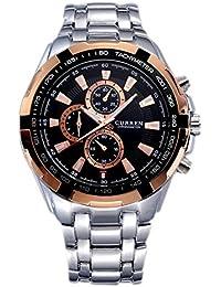 Reloj de hombre - CURREN Reloj de pulsera de acero inoxidable de hombre (Correa de plata & Esfera negra&puntero de oro)
