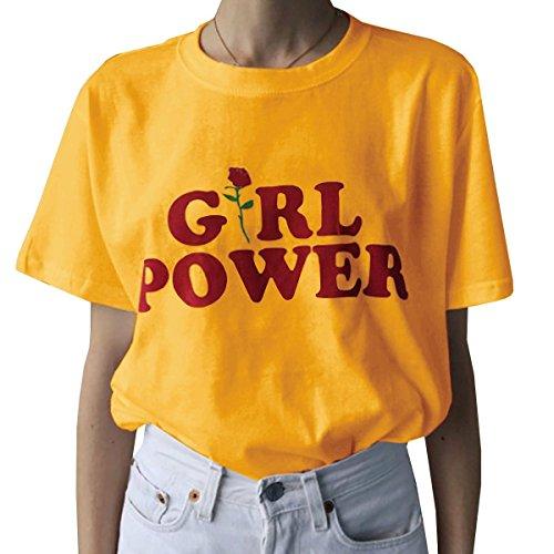 SHELERS Girl Power T-Shirt Feminismus Hemd 100% Baumwolle Kurzarm Unisex Slogan Spruch Damen T-Shirt Tops Bluse
