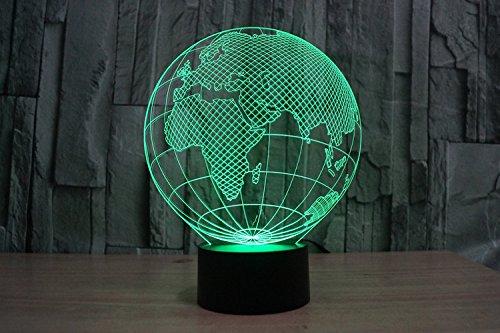 Lampe 3D ILLUSION Lichter der Nacht, kingcoo 7Farben LED Acryl Licht 3D Creative Berührungsschalter Stereo Visual Atmosphäre Schreibtischlampe Tisch-, Geschenk für Weihnachten, Kunststoff, Globe Européen 0.50 wattsW - 4