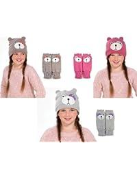 Pour enfant/filles Ourson Face Moufles avec chapeau, gants & tailles différentes couleurs