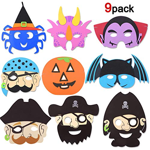 Howaf halloween maschere di schiuma per bambini,adulti, 9 pezzi maschere con nastro elastico per festa halloween cosplay, bomboniere maschere per bambini o ragazzi di età compresa tra 3 e più