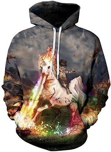 ck Kapuzenpullover Cartoon Sweatshirt Langarm Top Shirt Herbst Spaß Hoodie (XXL / 3XL (Brustumfang: 128-148CM), Katze und Einhorn) (Katze, Einhorn Kostüm)