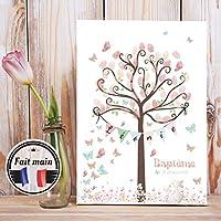 Arbre à empreintes - Arbre à empreintes Papillons et fleurs Pastel - Arbre à empreintes pour Baptême - Arbre empreintes anniversaire - Arbre à empreintes pour enfant - Lapin - Rose