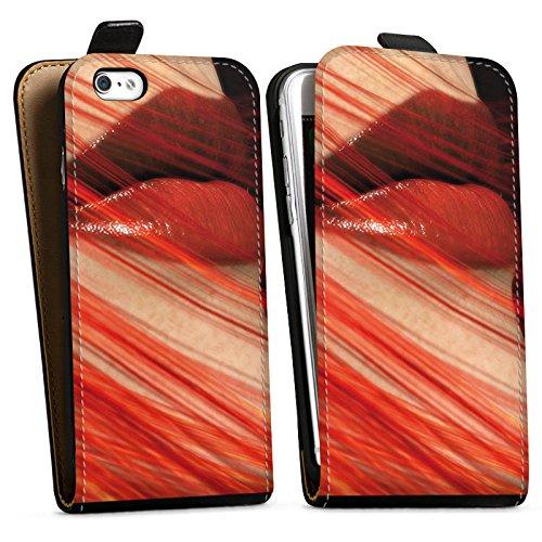 Apple iPhone X Silikon Hülle Case Schutzhülle Lippen Erotik Weiblich Downflip Tasche schwarz