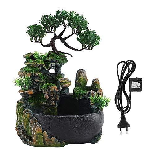 Aunmas fontana da giardino a cascata piccolo giardino roccioso con decorazione a led a luce variabile zen meditation waterfall desk
