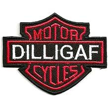 Dilligaf (do I look like I give a F...) Harley Davidson motorista de motocicleta motorista chaleco Chaqueta Parches | bordado de alta calidad Hierro en parche bordado para coser en insignias para ropa chaquetas camisetas abrigos bolsas sombreros Wallets