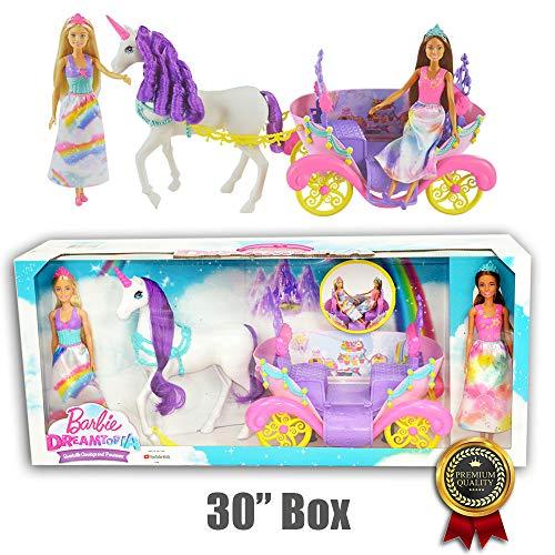 Barbie Dreamtopia Muñecas de Princesas, Carruaje y Unicornio