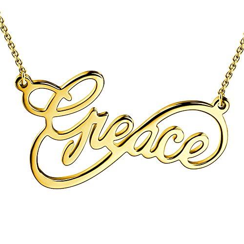 Unendlichkeit Personalisierte Halskette 14K Gold vergoldet 925 Sterling Silber ()