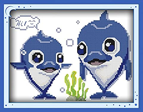 CaptainCrafts Heiß Neue Veröffentlichungen Kreuzstich Kits Muster Stickerei Kit - Schön Delphin (WEISS)