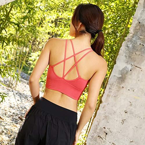 TENDYCOCO Sport-BH für Frauen Komfort Gepolstert Nahtlose High Impact Unterstützung für Yoga-Fitnessstudio Workout Fitness - Korallenrot M - 7