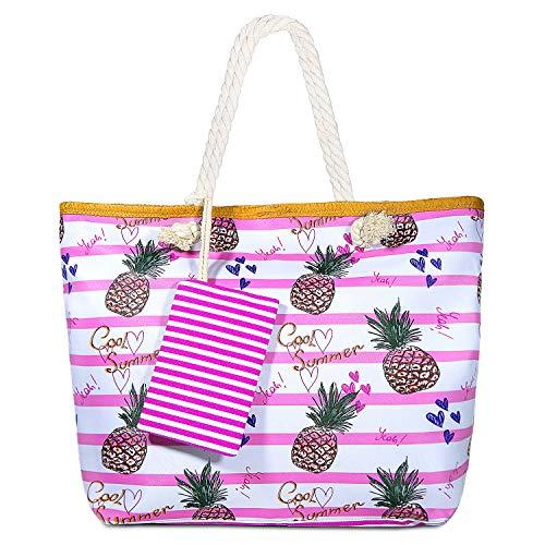 MOOKLIN Große Strandtasche mit Reißverschluss Sommer TascheVerschluss Damen Shopper Tasche Schultertasche Schwimmbad Badetasche Umhängetasche Beach Bag (08)