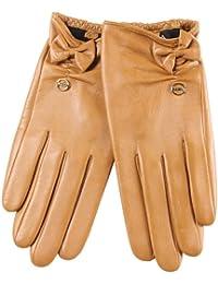 ELMA Handschuhe aus geschmeidigem Nappaleder mit Seideninnenfutter, Lederschleife und vergoldetem Logo