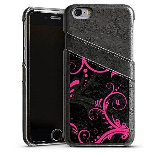 Apple iPhone 4 Housse Étui Silicone Coque Protection Ornements Rose vif Virages Étui en cuir gris