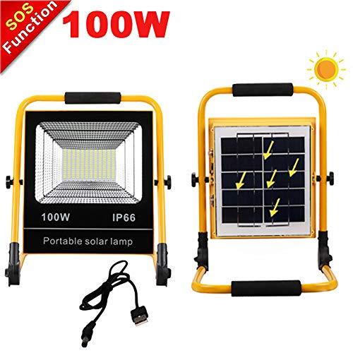 Faretto Portatile LED Ricaricabile 100W, Solare Pannello CaricaProiettore da Cantiere Led,Batteria Integrata 18000 Mah, 5 Modalità di Luminosità, Lampada da Lavoro Per Campeggio All'aperto