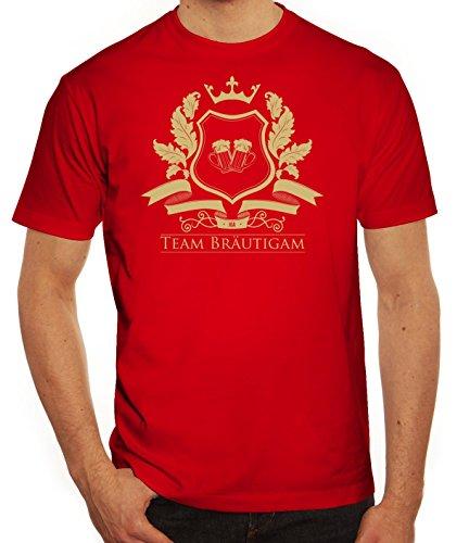 Junggesellenabschieds JGA Hochzeit Herren T-Shirt Wappen Team Bräutigam Rot