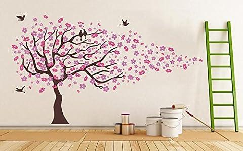 Sticker mural motif fleurs de cerisier avec oiseaux Rose L