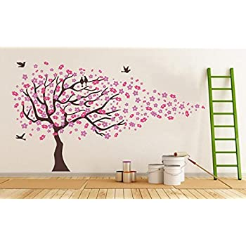 Pink Cherry Blossom Tree With Birds Wall Stickers Girls Bedroom Tree Wall  Decal Baby Girl W