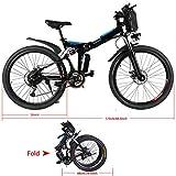 Creine 26 Zoll Elektrofahrrad Faltbar E Bike Klapprad Elektrisches Fahrrad 35km/h Mountainbike City Fahrrad mit 36V/8Ah Lithium-Ionen-Akku(DE Lager) (1, Schwarz)