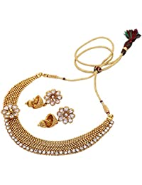 Aarvi Collections 24K Gold Plated Necklace With CZ Stone Layer For Women/Girls.