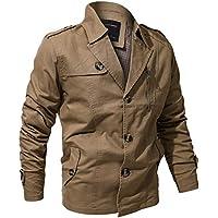 a07eb5240bc5 JiaMeng Men s Baumwolle gewaschen Militärjacke Windbreaker Jacke Knopf  Taschen Mantel Military Clothing Outwear Coat, Weihnacht