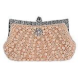 aux femmes sac de soirée perle perlé strass bourse d'embrayage mariage sac à main. (23 x 14cm) . champagne . one size