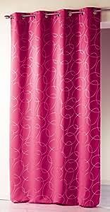 Douceur D'Intérieur  - 1604168, Tenda Con Occhielli , 140 X 260 Cm , Silvermoon , Coprente Stampato Argento , Rosa