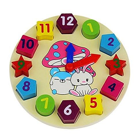 BIUBIU 1 PCS Wooden Puzzle Toy Digital Geometry Clock Blocks Children Educational Wood Toy Learning & Activity Toys