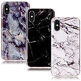 CLM-Tech 3X Coque pour Apple iPhone X, Housse Silicone Etui, TPU Case 3in1 Set, Anti-Choc, Anti-Rayures, Ultra Léger, Marbre Noir Blanc Multicolore