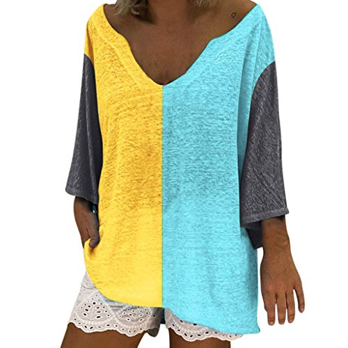 Lulupi T-Shirt Damen Große Größen 3/4 Kurzarm Oberteile Casual Patchwork Farbblock Tops T-Shirt Lässige Asymmetrische Sexy V-Ausschnitt Tunika -