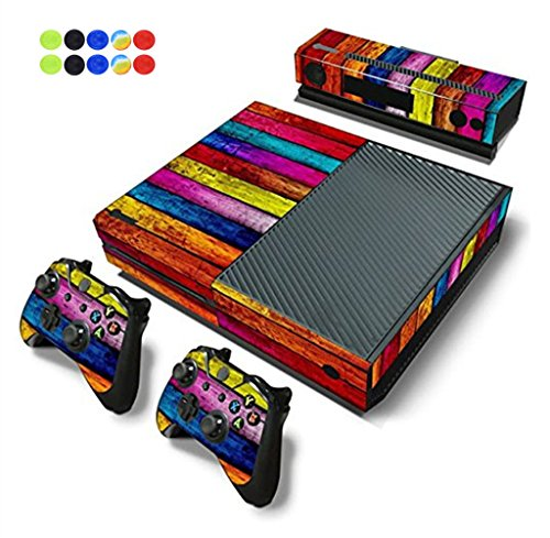 Skin for XBOX ONE, Morbuy Vinilo Consola Design Foils Pegatina Sticker And 2 XBOX ONE Controlador & Kinect Skins Set + 10pc Silicona Thumb Grips (Madera Arco iris)