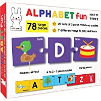 Play Poco Alphabet Fun Type 2 - 78 Piece Alphabet Matching Puzzle - 7 Different Ways to Play and Learn - Includes 78 Large Puzzle Cards with Beautiful Illustrations