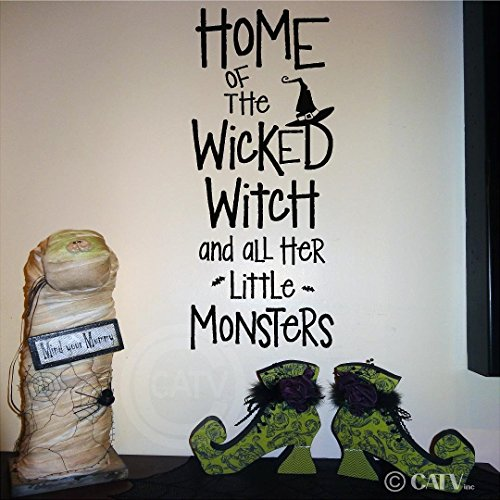Halloween Home Of The Wicked Witch And All Her Little Monsters vinyl lettering decal home decor wall art sticker witch hat bats