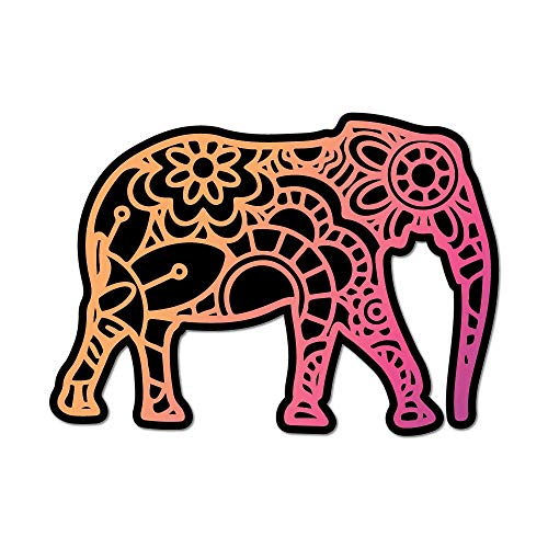 9010deba1932 Elephant Laptop Car Sticker Decal Henna Pattern Mandala Hippie Boho Animal