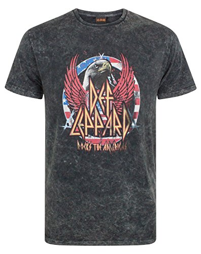 Unbekannt Def Leppard Men's Acid Wash T-Shirt (L) (Herren Acid-wash Print)