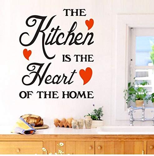 Zxfcczxf Die Kichen Ist Das Herzstück Des Home Quote Wandaufkleber Für Home Decoration Abnehmbare Vinyl Kunst Wandbild50 * 56Cm (Diy Herzstück Halloween)
