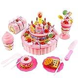 Profun drei-lagiger leichter Geburtstag Lied Party Kuchen Eiscrème Kinder Spielessen Spielzeugset rosa