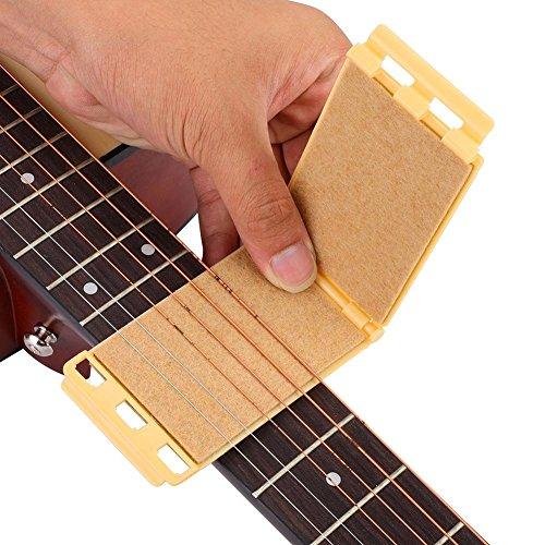 Dilwe Saite und Griffbrett Reiniger, Gitarre Bass Pflege Werkzeug(Gelb)