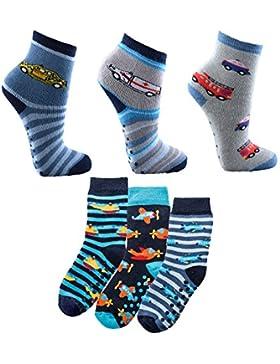 Baby Socken,6er Pack,Baumwolle,Jungen,Motiv Dino-Auto