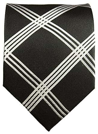 Silk Necktie . Black and White: Amazon.co.uk: Clothing
