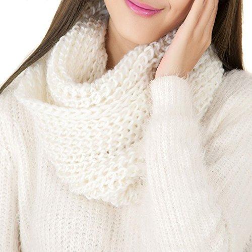 Donna infinity Circle Warmer Inverno a maglia spessa lana morbida sciarpa collo lungo anello cerchio (White Pattern Sciarpa)