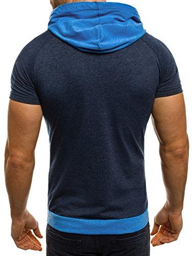 OZONEE Herren T-Shirt mit Motiv Kurzarm Rundhals Figurbetont BREEZY 459 Blau_ATHLETIC-1102