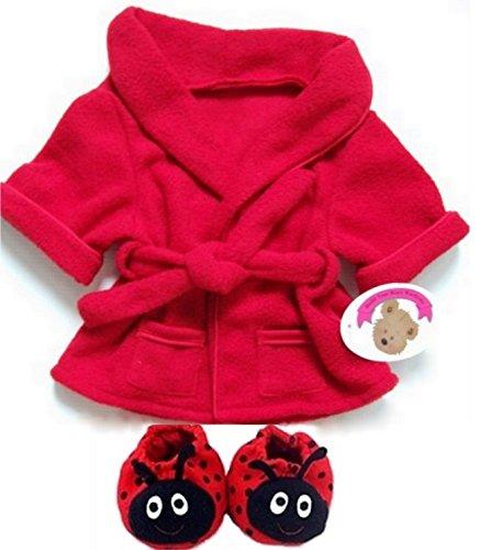 Teddybär Kleidung Rot Bademantel mit Hausschuhe Fit Build A Bear Factory Teddies