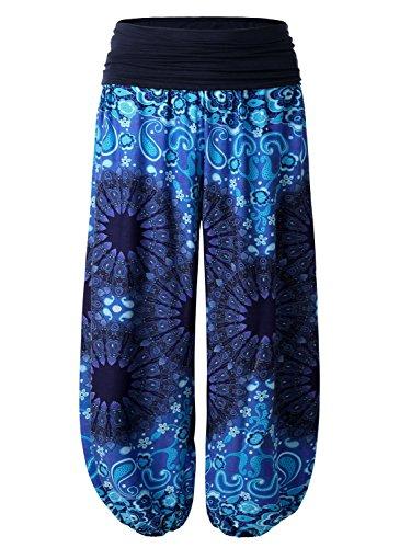BAISHENGGT Damen Pumphose Haremshose Blumenmuster Lange Hose Blau-Kamelie L